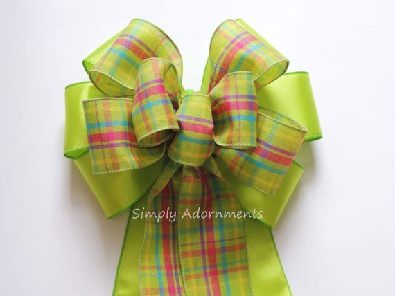Lime pink Spring Plaid Wreath Bow Green Spring Plaid Bow Lime Plaid Wedding Aisle Bow Green Birthday Decor Bow Bridal shower party Decor Bow