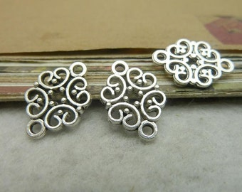 30 filigree floral charm connector with 2 rings antique silver 14x19mm wholesale zinc alloy charms- w7123