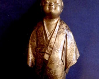 Vintage Bronze Asian Boy Figure With Wonderful Patina