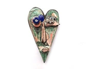 Strange love, Ceramic heart, Black ceramic heart, Art love gift, Modern art, Black sculpture, Wall black sculpture, Valentine day art gift