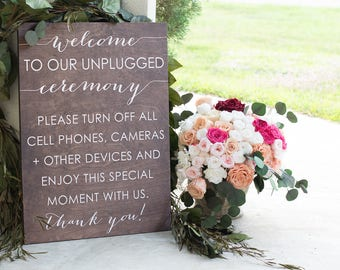 Unplugged Wedding Sign, Unplugged Ceremony Sign, Welcome to our Unplugged wedding, Wooden Wedding Signs, Wood Weddings Signs, Wedding Signs