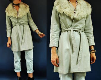1970s Light Grey Waist Tie Leather Jacket with Fur Collar