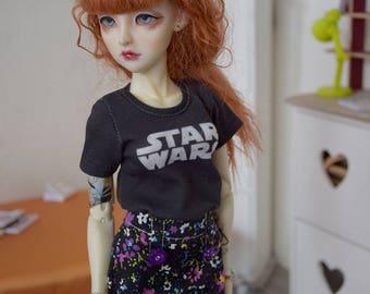 1/4 doll~ A-line black flowery short skirt   BJD (40/45 cm)