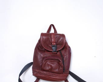 90s red leather mini draw string backpack unisex vintage accessories purse bag boho hipster trendy festival book bag