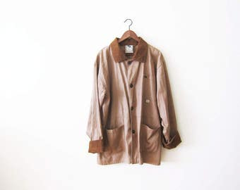Chore Coat / Mens Chore Jacket / Brown Corduroy Collar Jacket / 1990s Brown Oversized Jacket Large