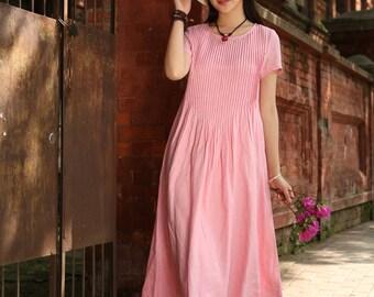 Pink Maxi Linen Dress, Pleated Pintuck Dress, Pink Dress, Long Linen Dress, Maxi Sundress, Linen Kaftan Dress, Linen Summer Dress