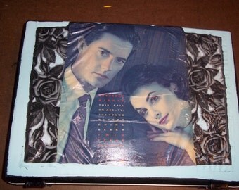 David Lynch Twin Peaks Audrey Horne & Special Agent Dale Cooper Decoupage Samsonite Embellished with Vintage Magazine clippings and paint