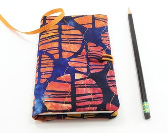 Pocket Diary Cover, Small Journal Cover, Pocket Notebook 3.5 x 5.5 inch, Journal Slipcover - Orange and Navy Batik Journal
