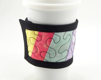 Quilted Cup Sleeve, Coffee Wrap - Colorful Cup Cozy in a Rainbow Hand Dyed Fabric, Reversible Coffee Sleeve
