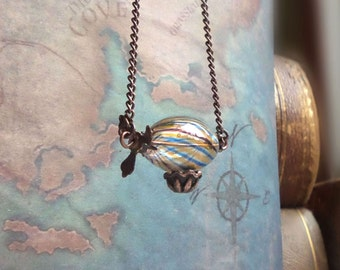 Zeppelin necklace, hot air balloon necklace, steampunk necklace, steampunk jewelry, birthday gift ideas for teens, girlfriend gift, for her