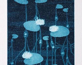 Waterlily art - meditative art - soothing art - waterlily aquatint - neuroscience - wall art - Neuronal Bliss (green and turquoise tones)