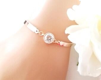 Rose Gold Bracelet, Wedding Bracelet, Drop, bridesmaid gift, bridal gift, Clear, bridesmaid jewerly, wedding jewrly, BRIDESMAIDS gift