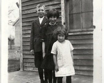 Old Photo 2 Girls and Boy outside House Dresses Knickers 1920s Photograph Snapshot vintage Children