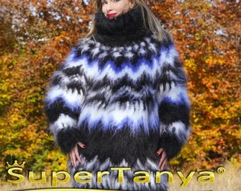 10 strands mega thick and fuzzy hand knit Icelandic mohair sweater, unisex handgestrickte pullover in black by SuperTanya