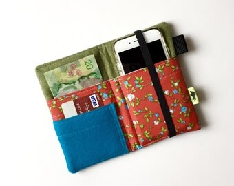 iPhone 6 Plus wallet Festival wallet Red Flower Cell Phone Wallet mom gift iPhone 7 wallet phone clutch phone wristlet wallets teen gift