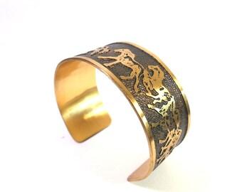 Brass Horse Bracelet, Horse Cuff, Wild Horses, Equestrian Jewelry, Brass Cuff, Cowgirl Jewelry, Country Wedding, Rustic Cuff, Gift for her