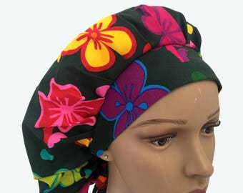 Bouffant Surgical Scrub Hat - Bright Colorful Flowers Scrub Hat - Big Flowers on Dark Green Bouffant Scrub Hat -Ponytail Scrub hat