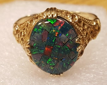 10k Solid Gold One of A Kind Victorian Style Australian Mosaic Doublet Black Fire Opal Ring Size 7.5 Check Out The Video