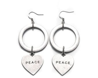 Oxidezed Silver Hoops with Peach and Love