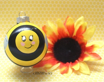Bee Glass Ornament MADE TO ORDER Hand Painted Beekeeper Bee Enthusiast Bumble Bee Honey Bee Glass Bauble