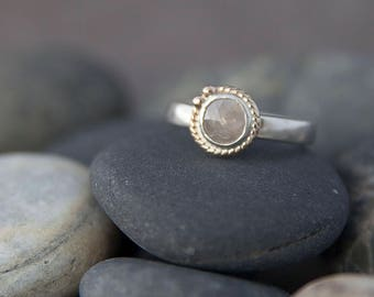 Rose Cut Diamond Ring in Silver and Gold