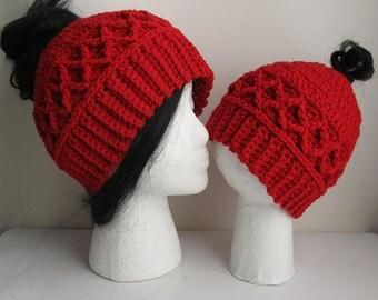 Messy Bun Hat CROCHET PATTERN - Pattern for Crochet Ponytail Hat - Messy Bun Beanie Pattern - Mother Daughter Messy Bun Hat Pattern