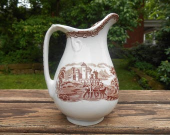 White Ironstone Brown Transferware Creamer Small Vase Pitcher with Detailed Scene of a Castle, Lake, Rowers English Staffordshire Pottery