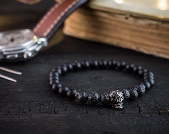 6mm - Matte black onyx & lava stone beaded stretchy bracelet with gunmetal black skull, black bracelet, mens bracelet, black skull bracelet