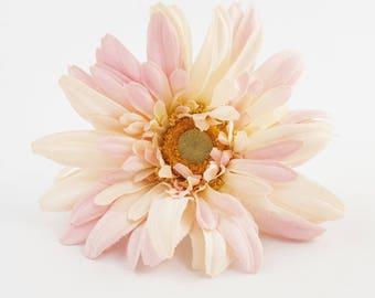 Pink White Gerbera Daisy | Jumbo Artificial Silk Flower Head | Millinery | Hair Accessory | Wedding Flowers | Wreath | The Blue Hutch