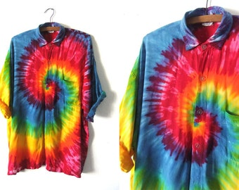 Tie Dye Psychedelic Button Down Shirt - Hippie Style Rainbow Color 90s Oversize Baggy Short Sleeve Shirt - Mens XL