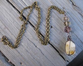 Citrine Quartz and Purple long necklace / Long Quartz Necklace / Crystal Necklace
