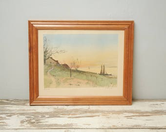 Seaside Hand Colored Sketch SIGNED