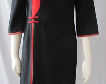 Vintage Wool Asian inspired Dress  Black Red detail