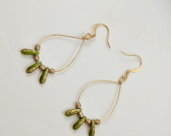 Beaded Gold Loop Earrings with Green and Gold Pendants