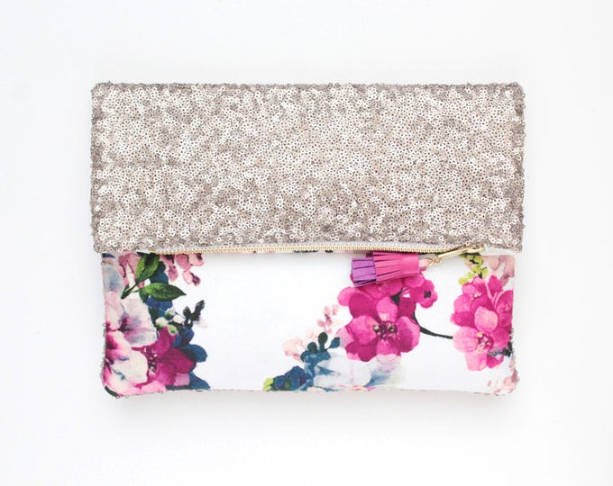 BLISS 7 / Sequin clutch bag-fold over bag-wedding bag-bridesmaid gift-floral print-flower fabric-silver sequin-white pink-Ready to Ship