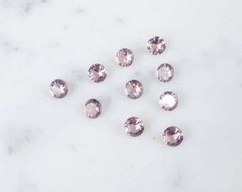 6mm DUSTY ROSE faceted CZ gemstones. dusty pink gem. mauve billiant cut round gemstone. loose pink gems. lab grown