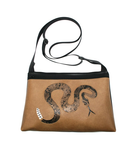 Rattlesnake, tan vinyl, medium crossbody, vegan leather, zipper top