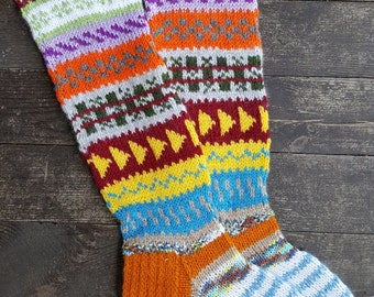 Hand Knit Colorful Socks-Womens Soks-Long Socks-Size Medium-US W7-7,5/EU38