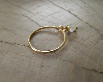"Ring / Stackable Ring... ""Falling Star"" hammered brass ring with a moonstone wire wrapped charm."