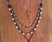Beach Jewelry Crochet Pearl Necklace - Crochet Freshwater Pearl Necklace - Boho Beach Treasure