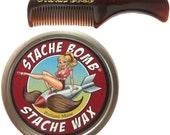 Stache Bomb Stache Wax- Moustache Comb and Mustache Wax Set