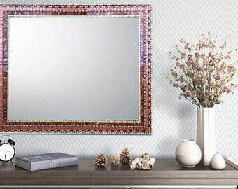 Mosaic Wall Mirror, Earth Tones, Unique Wall Mirror, Custom Mirror, Bronze Green Orange Maroon Mirror