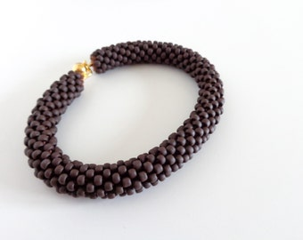 Brown Rope Bracelet // Christmas Gift // Cuff Bracelet // Beaded Crochet Bracelet // Beaded Rope bracelet // Gift fo her //