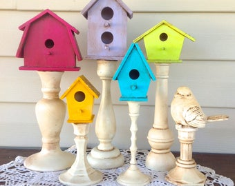 Bright & Colorful Bird House Village - Bird Houses on Pedestals - 6 Pc Set - Antique Finish Bird Decor - Table Top - Gift for Mom