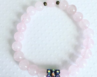 Handmade bracelet. Rose quartz gemstone beaded stretch bracelet. Pink bracelet. Chic. Sugarplum Gallery.