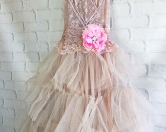 dusty mauve pink tulle boho wedding dress by mermaid miss Kristin