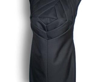 Origami dress- Unusual shift dress- Art to wear dress- Unusual wedding dress-sculptural fashion black  dress *FREE Shipping*