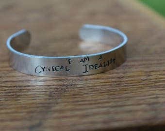 "F. Scott Fitzgerald - This Side of Paradise - ""I am a Cynical Idealist"" metal stamped cuff bracelet"
