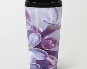 Lilac Metal Travel Mug, Floral Mug, Travel Mug, Floral Photography, Flower Photography, Photography