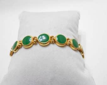 Vintage Emerald Green Enamel Bracelet (1934)